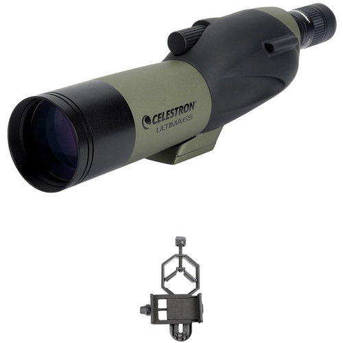 Celestron Ultima 65 18-55x65mm Spotting Scope and Smartphone Adapter Kit (Straight Viewing)