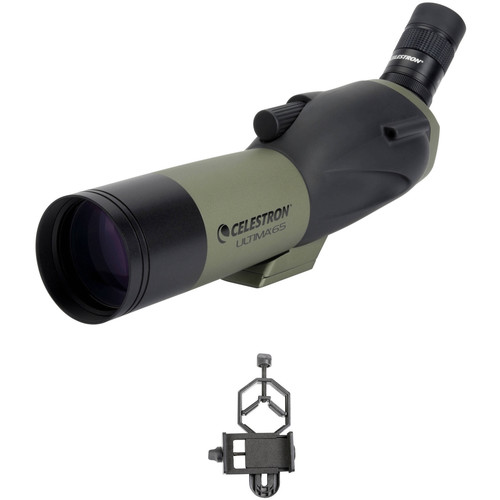 Celestron Ultima 65 18-55x65mm Spotting Scope and Smartphone Adapter Kit (Angled Viewing)