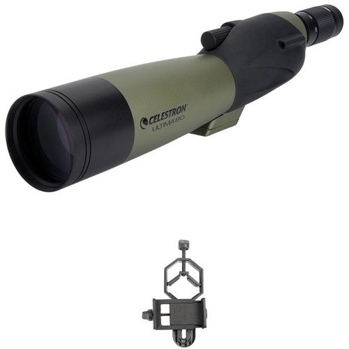 Celestron Ultima 80 20-60x80mm Spotting Scope and Smartphone Adapter Kit (Straight Viewing)