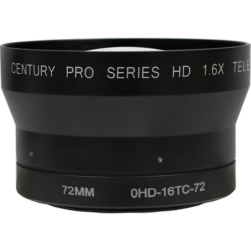 Century Precision Optics 0HD-16TC-72 1.6x Tele-Converter for Camcorders with Integrated Zoom Lenses and 72mm Thread