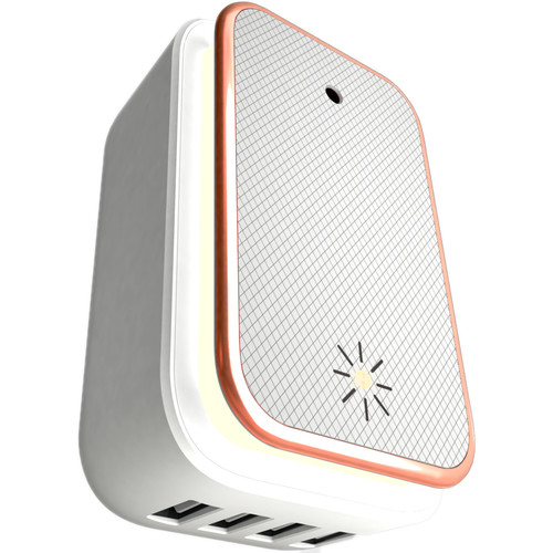 ChargeHub X4 4-Port USB SuperCharger and LED Night Light (White/Almond)