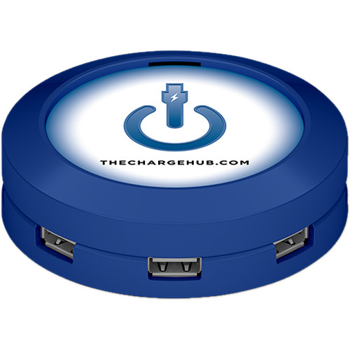 ChargeHub 7-Port USB Universal Charging Station (Round, Blue)