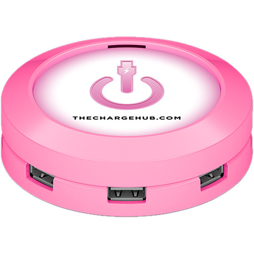 ChargeHub 7-Port USB Universal Charging Station (Round, Pink)