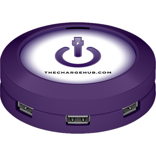 ChargeHub 7-Port USB Universal Charging Station (Round, Purple)