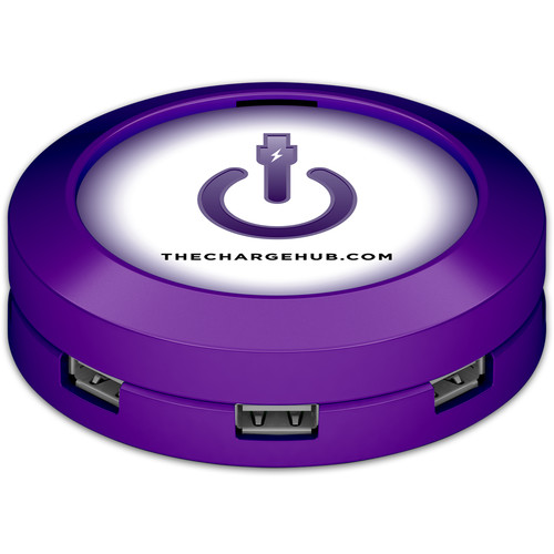 ChargeHub X7 7-Port Round USB Charging Station Value Pack (Purple)