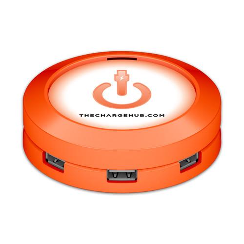 ChargeHub X7 7-Port Round USB Charging Station Value Pack (Orange)