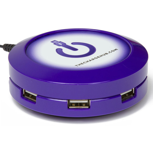 ChargeHub X3 3-Port Round USB Charging Station (Purple)
