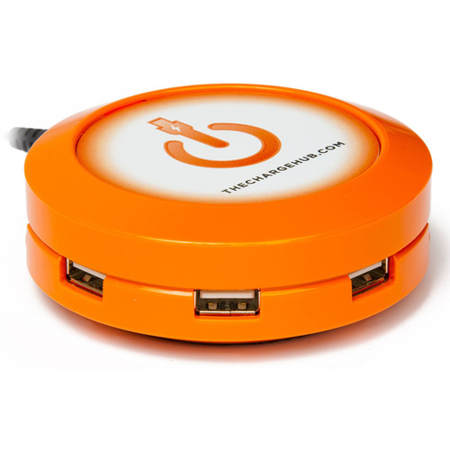 ChargeHub X3 3-Port Round USB Charging Station (Orange)