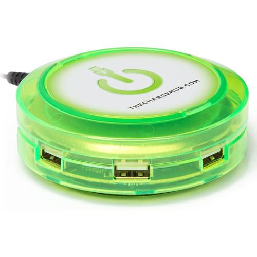 ChargeHub X3 3-Port Round USB Charging Station (Edge Glow Green)