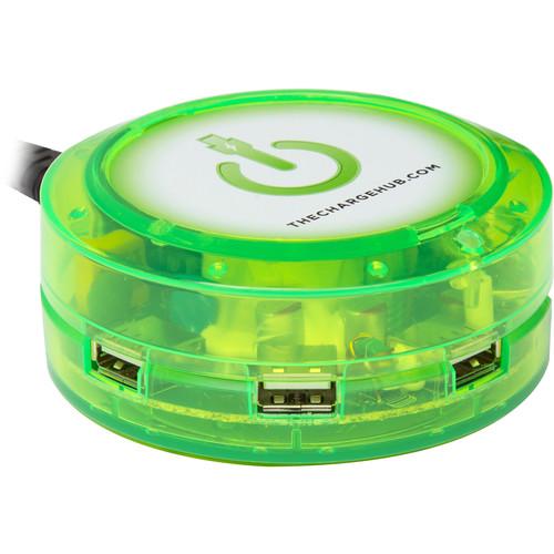 ChargeHub X5 5-Port Round USB Charging Station (Edge Glow Green)