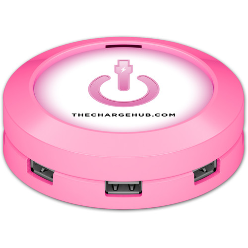 ChargeHub X7 7-Port Round USB Charging Station (Pink)