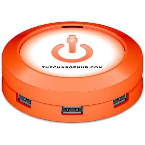 ChargeHub X7 7-Port Round USB Charging Station (Orange)