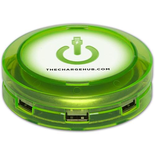ChargeHub X7 7-Port Round USB Charging Station (Edge Glow Green)