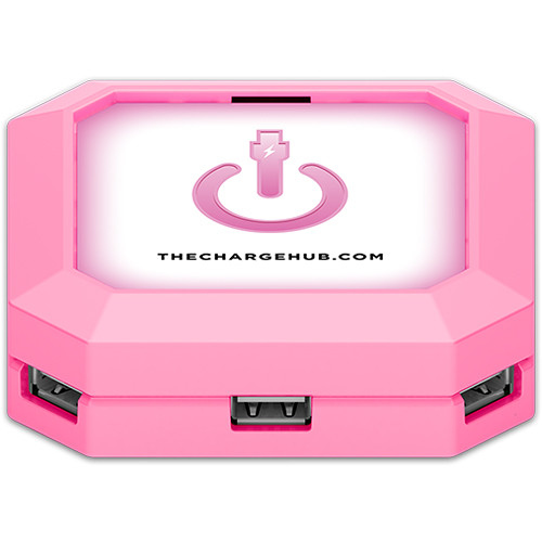 ChargeHub 7-Port USB Universal Charging Station (Square, Pink)