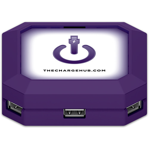 ChargeHub 7-Port USB Universal Charging Station (Square, Purple)