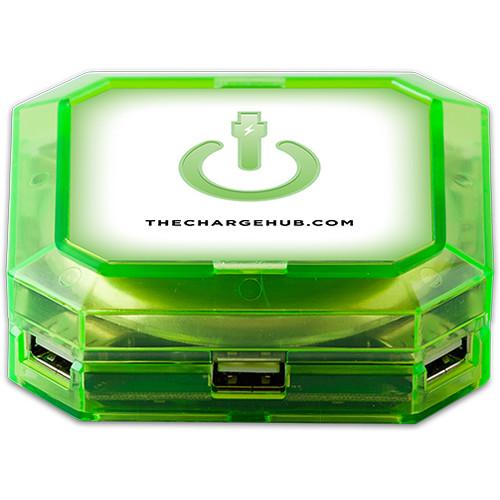 ChargeHub 7-Port USB Universal Charging Station (Square, Green)