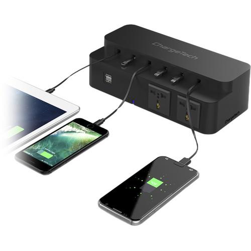 chargetech CS8 Power Strip Charging Station (Black)
