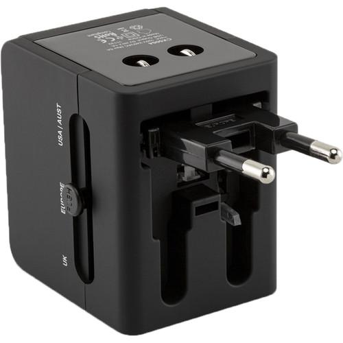 ChargeWorx CX5004 Dual USB International Travel Adapter (Black)