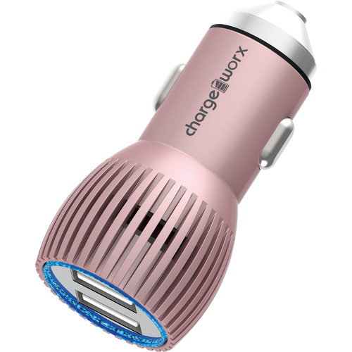 ChargeWorx 3.4A Dual USB Metal Car Charger (Rose Gold)