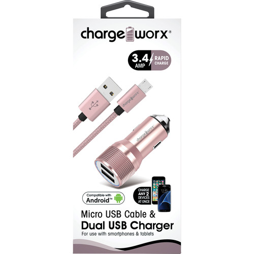 ChargeWorx 3.4A Dual USB Car Charger with Escape Hammer & Micro-USB Cable (Rose Gold)