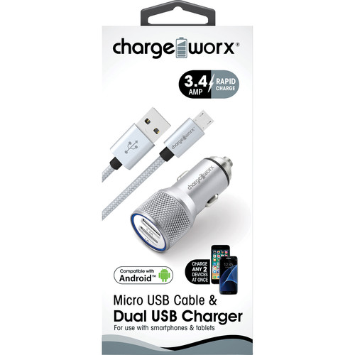 ChargeWorx 3.4A Dual USB Car Charger with Escape Hammer & Micro-USB Cable (Silver)