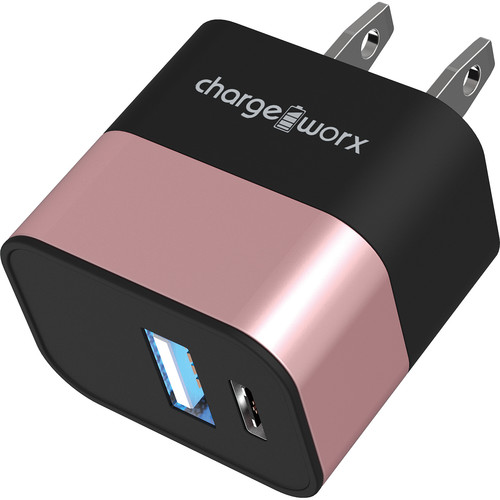 ChargeWorx 3.1A USB Type-C & USB Type-A Wall Charger (Rose Gold)
