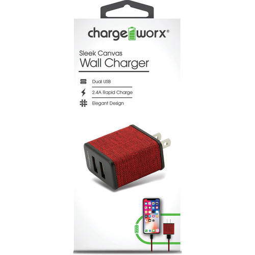 ChargeWorx 2.4A Dual-USB Sleek Canvas Wall Charger (Red)