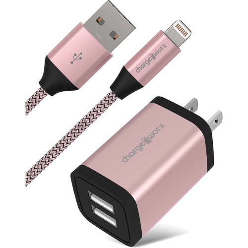 ChargeWorx 2.4A Dual USB Metal Wall Charger with Lightning Cable (6', Rose Gold)