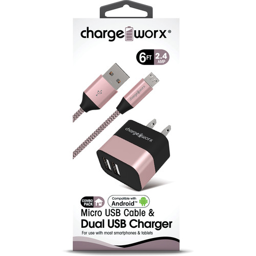 ChargeWorx 2.4A Dual USB Wall Charger with Micro-USB (6', Rose Gold)