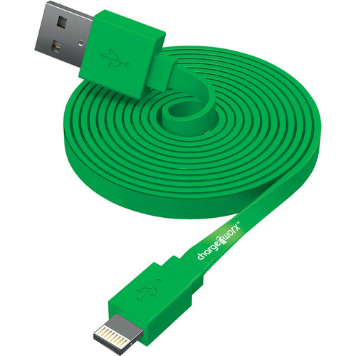 ChargeWorx Flat Charge and Sync Lightning Cable (10', Green)