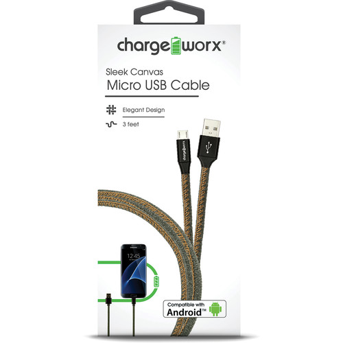 ChargeWorx Sleek Canvas Micro USB Cable (Green, 3')