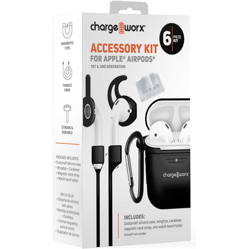 ChargeWorx 6-Piece Accessory Kit for Apple AirPods 1st & 2nd Gen (Black)