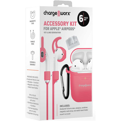 ChargeWorx 6-Piece Accessory Kit for Apple AirPods 1st & 2nd Gen (Coral)