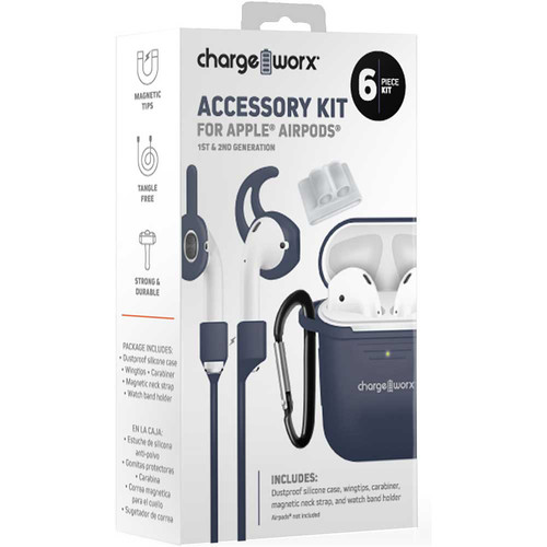 ChargeWorx 6-Piece Accessory Kit for Apple AirPods 1st & 2nd Gen (Deep Blue)