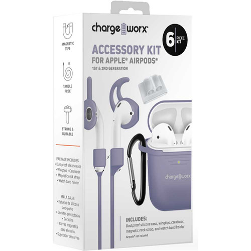 ChargeWorx 6-Piece Accessory Kit for Apple AirPods 1st & 2nd Gen (Lavender)