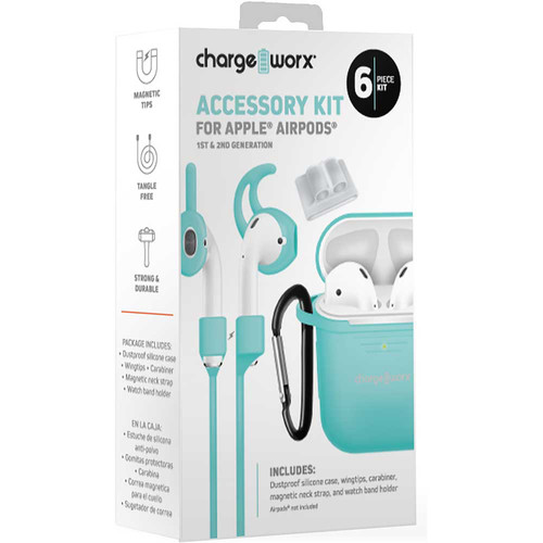 ChargeWorx 6-Piece Accessory Kit for Apple AirPods 1st & 2nd Gen (Mint)
