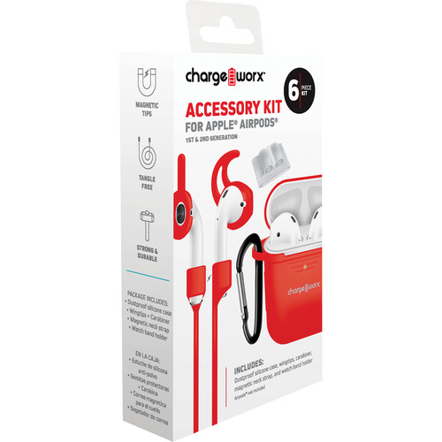 ChargeWorx 6-Piece Accessory Kit for Apple AirPods 1st & 2nd Gen (Red)