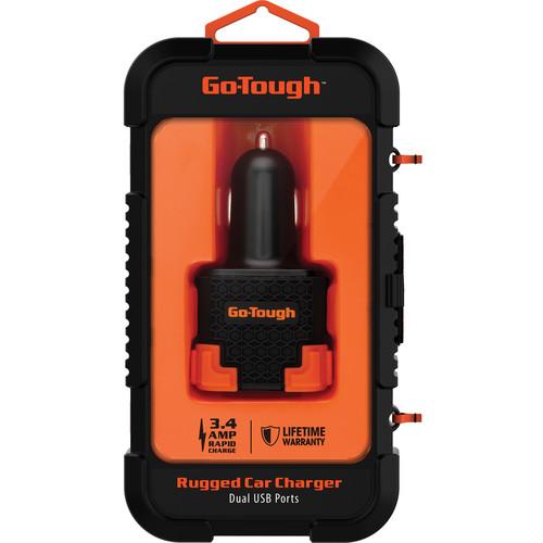 ChargeWorx Go Tough 3.4A Dual USB Car Charger (Black/Orange)