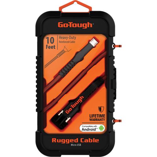ChargeWorx Go Tough Rugged Micro-USB Cable (10', Black/Orange)