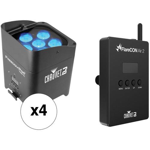 CHAUVET DJ Freedom Par Tri-6 - 4-Light Kit with FlareCON Air Wireless Transmitter