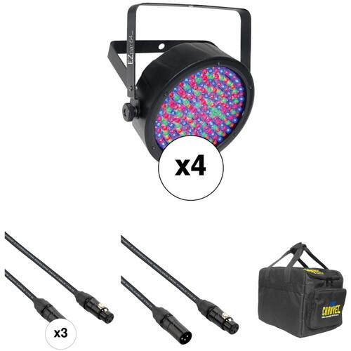 CHAUVET DJ EZpar 64 RGBA Kit - Battery-Powered LED PAR (Black, 4-Pack)