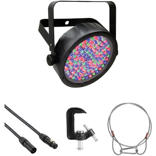 CHAUVET DJ SlimPAR 56 - RGB LED PAR Kit with DMX Cable, Clamp, and Safety Cable (Black)