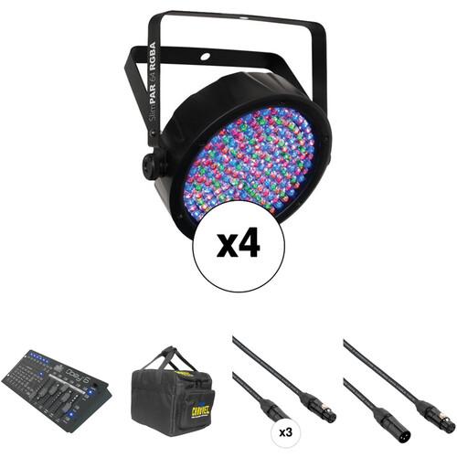 CHAUVET DJ SlimPAR 64 RGBA LED PAR with 4-Channel DMX Controller Kit (4-Pack)