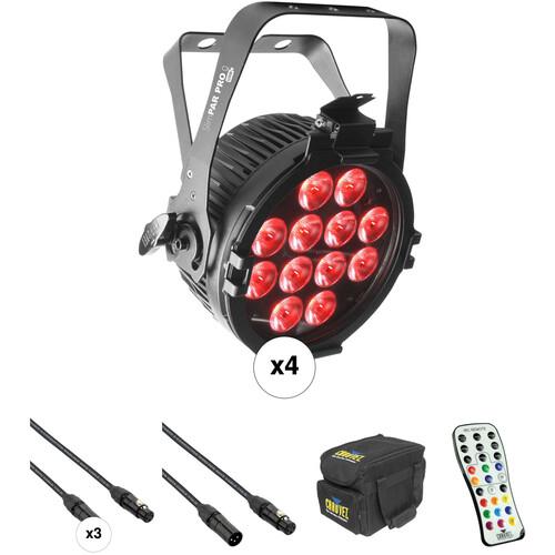 CHAUVET DJ SlimPAR Pro Q USB Kit with 4 RGBA LED Wash Lights, Cables, Case, and Remote