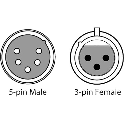 """CHAUVET DJ 3-Pin Female to 5-Pin Male DMX Cable (6"""")"""