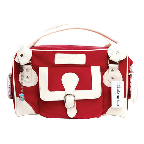 Cheeky Lime Classic Shoulder Bag (Red, Cream Trim)