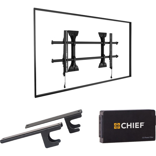 Chief Fusion Wall Fixed TV Mount with CAT5/Surge/CPU Adapter & Power Filter Kit