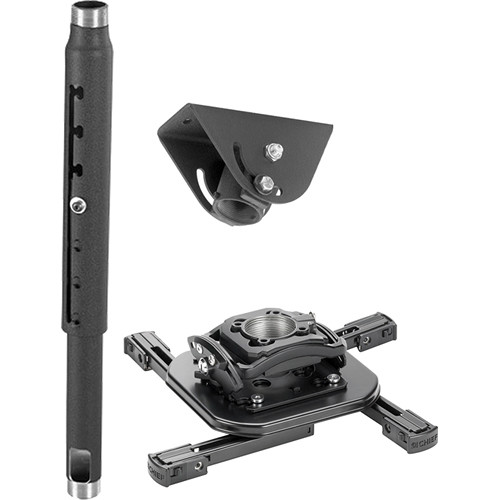 Chief Projector Ceiling Mount Kit with Universal Mount, 2-3' Adjustable Extension Column, and Angled Ceiling Plate (Black)