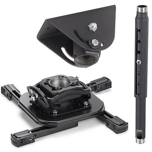 Chief Projector Ceiling Mount Kit with Universal Mount, 3-5' Adjustable Extension Column, and Angled Ceiling Plate (Black)
