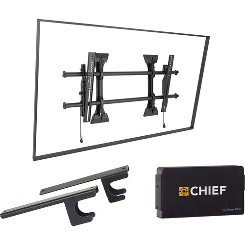 Chief Fusion Medium Tilt Wall TV Mount with CAT5/Surge/CPU Adapter & Power Filter Kit